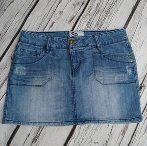 SO Lightly Distressed 5 Pocket Jean Skirt Size 7
